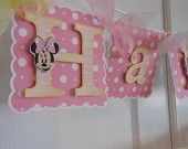 Minnie Mouse Pink and Yellow  Birthday/Name Banner