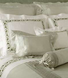 We offer the most luxurious Italian bed, table and bath linens. Our exclusive collection includes custom embroidered linens, the highest quality down and cashmere, plus accessories. Linen Bed Sheets, Bed Linen Sets, Linen Bedding, Bedding Sets, Embroidered Bedding, Bath Linens, House Beds, Fine Linens, Luxury Bedding