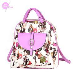 RoyaDong Small Leather Printing Backpack Teenage Girls Bagpack PU Beauty Prints Novelty Bag Fashion Mochila Feminina Sac A Dos