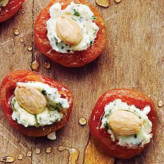 Apricots with Basil-Goat Cheese and Almonds | MyRecipes.com