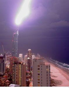 Lightning Strike Q1 Surfers Paradise, Gold Coast, Queensland Australia. 24th October 2005.