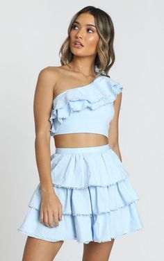 Complete your look with the Rooftop Spritz Two Piece Set In Powder Blue from Showpo! Cute Skirt Outfits, Preppy Outfits, Teen Fashion Outfits, Cute Casual Outfits, Cute Dresses, Girl Fashion, Summer Outfits, Dress Outfits, Short Dresses