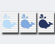 Nusery Art Whale Wall Arp Prints, Navy Blue and Blue Nursery Prints, Baby Boy Nusery Wall Art Print and Bedroom Decor - B403, B404 & B405