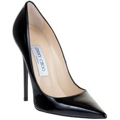 Jimmy Choo Anouk Black Patent Pump Classic (£400) ❤ liked on Polyvore featuring shoes, pumps, heels, sapatos, high heels, black high heel shoes, black pointed-toe pumps, jimmy choo shoes, black patent pumps and patent leather pumps