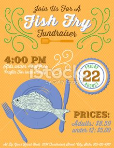 Fish fry event fundraiser poster flyer or ad for Fish fry menu ideas