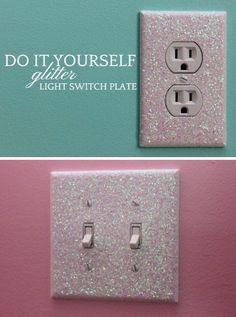 Glitter Light Switch Plates (Diy Bathroom Teen)