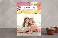 """Amazing Paint"" - Modern New Year Photo Cards in Citrus by Simona Cavallaro."