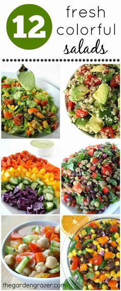 Something for everyone with colorful chopped salads, bean salads, quinoa salads, etc. Vegan and gluten-free, with simple homemade dressings. Eat the rainbow!