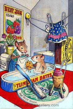 Bath time - Town Mouse and Country Mouse (Mendoza)