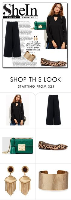 """""""She In Contest: Black Cut Out Asymmetrical Swing T-shirt"""" by rboowybe ❤ liked on Polyvore featuring WithChic, C/MEO COLLECTIVE, Gucci, Tory Burch, Vince Camuto and Panacea"""