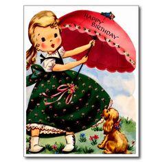 Meisje en Puppy - Retro Gelukkige Verjaardag Wenskaart