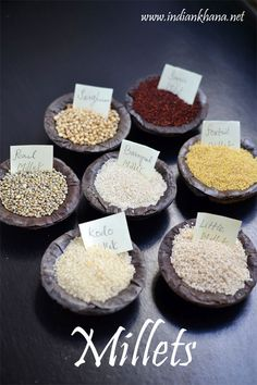 Millets - Types of Millets, Benefits, Nutrition Information ~ Indian Khana macrobiotic recipes Millet Benefits, Millet Recipe Indian, Indian Food Recipes, Healthy Recipes, Ragi Recipes, Aloo Recipes, Okra Recipes, Free Recipes, Vegetarian Recipes
