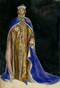 Richard II  His Majesty's Theatre, 1902  Costumes designed by Percy Anderson    Percy Anderson (1851-1928)  Costume design for Richard II, 1902  Herbert Beerbohm Tree as Richard II
