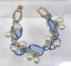 Vintage Bracelet Blue Rhinestones Dangle Pearls by blisstiques, $22.50