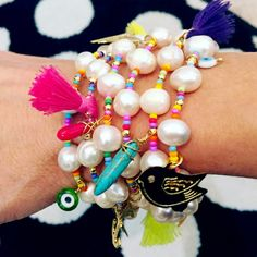 Bracelets By Vila Veloni Pearls And Charm Cute