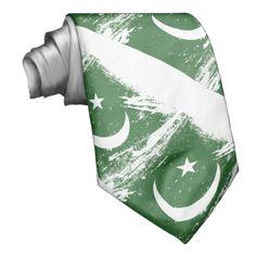 Grunge Pakistan Flag Neck Tie