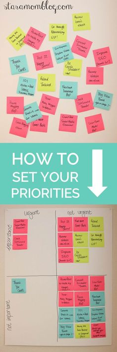 I should do this with my weekly planning goals.How to set your priorities straight with a super simple method using post it notes. Get your goals done! Le Management, Time Management Tips, Diy Organisation, Life Organization, Organizing Clutter, Essayist, Productivity Hacks, Startup, Mom Blogs
