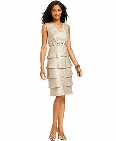 RM Richards Tiered Embellished Dress and Jacket - Mother of the Bride Dresses - Women - Macy's Mother Of Groom Dresses, Bride Groom Dress, Mothers Dresses, Mob Dresses, Satin Dresses, Bride Dresses, Garden Dress, Tiered Skirts, Embellished Dress