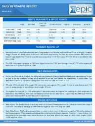 Markets resumed trade lackadaisically after a long weekend on Monday and ended with a cut of around 1% which dragged Sensex and Nifty below 25,650 and 7,800 levels respectively. The first day of the October F&O series re- mained edgy ahead of the fourth bi-monthly monetary policy review for the year 2015-16, which is scheduled to take place today.  http://www.epicresearch.co/