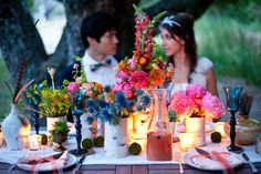 Evening Bohemian Hippie Chic Centerpiece - outdoor-al-fresco-california-bohemian-wedding-ideas