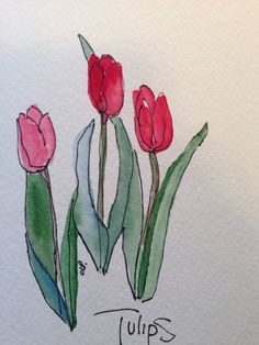 Dreaming of Tulips Watercolor Card by gardenblooms on Etsy, $3.50