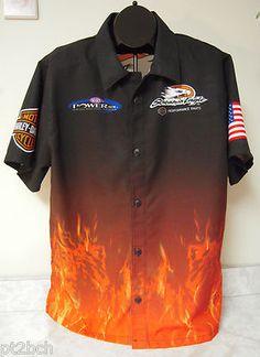 Harley Davidson Racing Screamin Eagles Button Front Shirt Air Kontrol MicroPoly