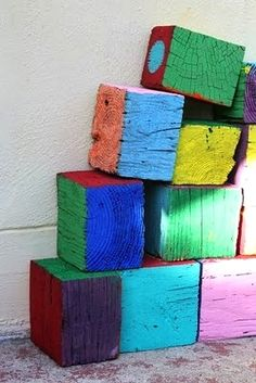 recycled blocks painted for kids play - outdoor blocks!