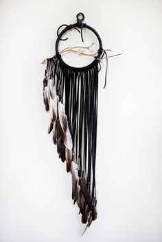 Driftwood Dreamcatcher Swallow  6 black leather by BartonHollow