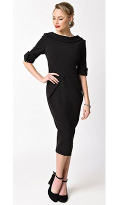 1960s Style Black Half Sleeve Hollywood Stretch Wiggle Dress