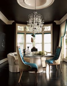 Love the black tray ceiling and white molding.