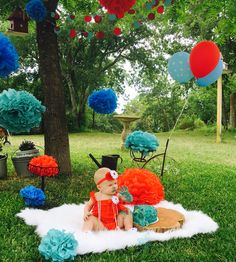 Girls red and teal outdoor cake smash