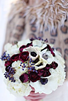 Brides: White and Red Winter Wedding Bouquet. Wedding bouquet of hydrangeas, ranunculuses, anemones, and viburnum berries by Studio Fleurette Winter Wedding Flowers, White Wedding Bouquets, Wedding Flower Arrangements, Flower Bouquet Wedding, Winter Weddings, Floral Arrangements, Boquet, Flower Bouquets, Anemone Bouquet