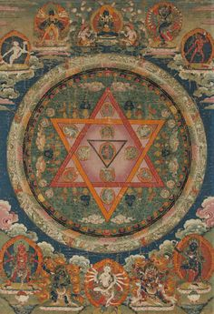 Tibetan Buddhist Thangka of Vajrayogini Mandala, Central Tibet, 18th century, Tibet