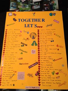 Great idea, posterboard with couple's bucket list to do together.....