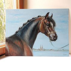 Horse portrait. Oils. Equine art.