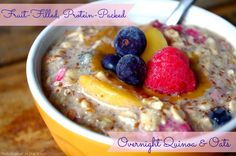 Fruit-Filled Protein-Packed Overnight Quinoa & Oats (can be vegan & gluten free!)