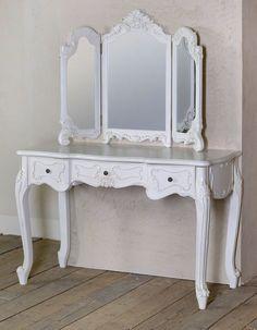 Antique White 3 Drawer Dressing Table