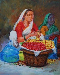 Buy Flower seller painting online - the original artwork by artist bhandare m k, exclusively available at Mojarto only. Village Scene Drawing, Art Village, Easy Scenery Drawing, Rajasthani Painting, Composition Art, Mini Canvas Art, Indian Folk Art, Art Drawings For Kids, Indian Art Paintings