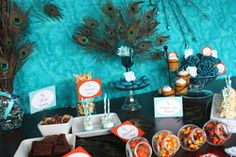 Jennifer K's Thanksgiving/Fall / Thanksgiving Peacock - Thanksgiving dessert table at Catch My Party Peacock Birthday Party, 2nd Birthday, Thanksgiving Celebration, Thanksgiving Desserts, Thanksgiving Ideas, Fall Dessert Recipes, Fall Desserts, Peacock Foods, Party Planning