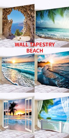 Shop the beach style wall tapestry, have a nice vacation at home, alway feel the holiday mode in the house, DIY home wall tapestry #Rosegal #beach #walltapestry #blue #vacation #holiday #DIY