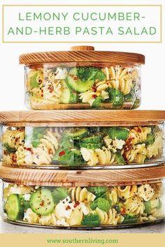 Lemony Cucumber-and-Herb Pasta Salad - Pasta salad recipes - Nudelsalat New Recipes, Vegetarian Recipes, Cooking Recipes, Favorite Recipes, Healthy Recipes, Food Recipes Summer, Cooking Pasta, Cooking Games, Skinny Recipes