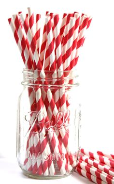 Candy Apple Red and White Striped Paper Straws. Perfect for a Valentine's Day party! #valentinesday #party #straws