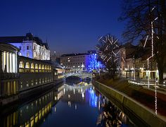 Adorned Ljubljana with its Ljubljanica river in december.