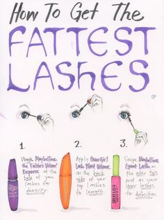 how to get the fattest lashes... I think I have most of these lying around Eyelashes Tutorial, Big Eyelashes, Beauty News, Beauty Hacks, Anti Aging Cream, Beauty Make Up, Hair Beauty, Beauty Stuff, Makeup Tips