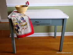 Updating an Enamel Top Table by House of Hawthornes, 20 DIY Farmhouse Projects via A Blissful Nest