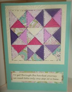 handmade card: Quilting Encouragement by ScrappinCEO  ... luv the hand drawn sewing lines ...