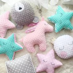 Unicorn pillow, Bear pillow, star pillow, softie, cushion, toy decor for nursery, gift for girl ♥ These lovely pillows are handmade and designed by me. Very soft and so nice to touch plush Minky. Stuffed with an anti allergenic stuffing. The dimensions of the Unicorn pillow: 43 cm =