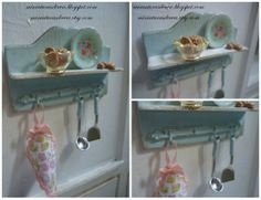Wooden shelf with accessories. Dollhouse. by MiniaturasDeEva, €10.00