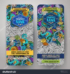 Cartoon Vector Hand-Drawn Underwater Life, Marine Doodle Corporate Identity. 2 Vertical Banners Design. Templates Set - 417451477 : Shutterstock