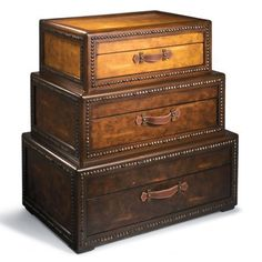 WANT THIS SO MUCH!  Perfect for the Study/Library  OR  the Loft  OR  Master Bedroom as cool bedside tables.....OH I could find So many places for these :)  Voyager Chest - www.grandinroad.com